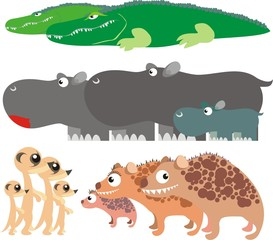 African animals colorful vector illustration set 2