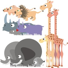African animals colorful vector illustration