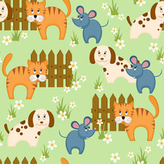 Village style seamless background with dog, cat and mouse