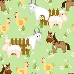 Village style seamless pattern with goats, horses and chickens