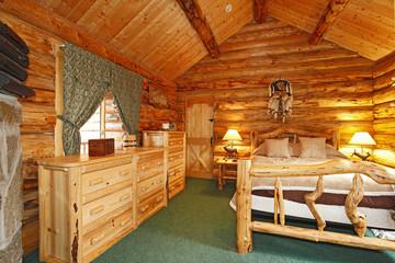 Bedroom in a rustic cabin