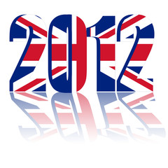 Year 2012 with Flag of England - a 3d image