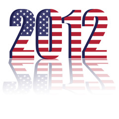New Year 2012 with US Flag - a 3d image
