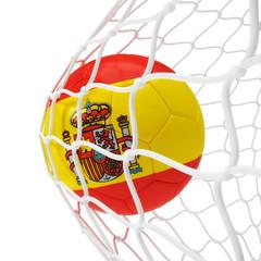 Spanish soccer ball inside the net