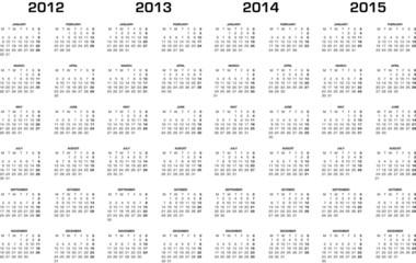 Kalender 2012, 2013, 2014, 2015