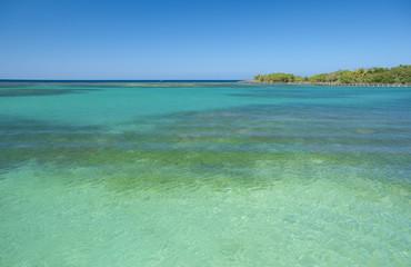 Beach and tropical sea in the caribbean