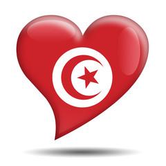 Corazon brillante bandera Tunez