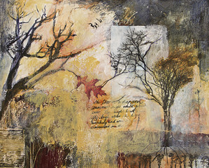 Mixed media painting with trees and oak leaf