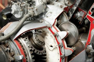 precision mechanics inside a propeller aircraft engine