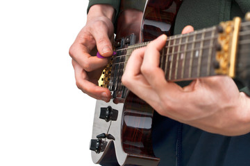 Electric guitar hands player