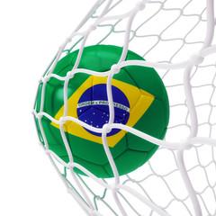 Brazilian soccer ball inside the net