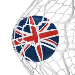 England soccer ball inside the net