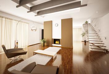 Modern apartment mit Kamin und Treppe interior 3d render