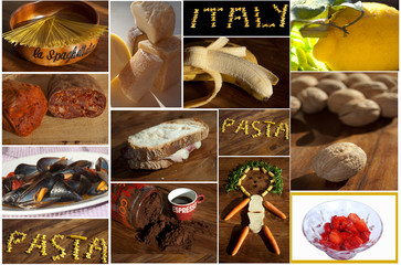 Dieta italiana. Collage fotografico