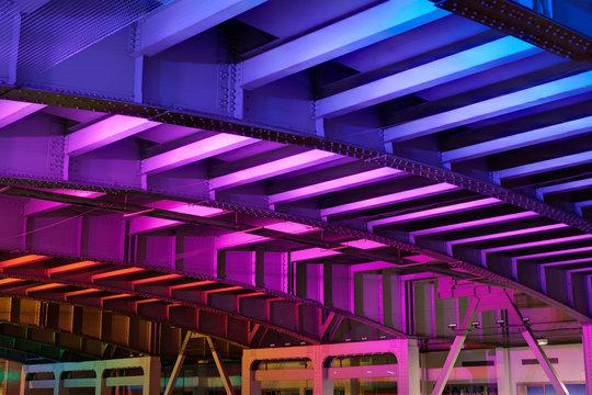 LED colored illuminated tunnel in San Francisco