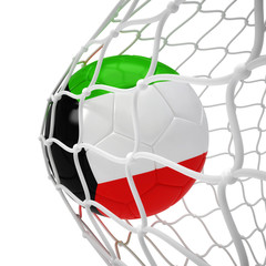 Kuwaiti soccer ball inside the net