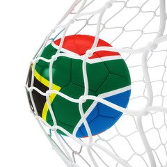 South African soccer ball inside the net