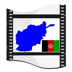 film shots with a national map of Afghanistan