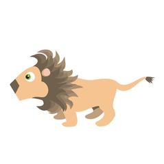 Lion - African wildlife color raster cartoon