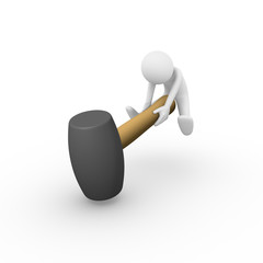 Man smashing on the ground with a big rubber mallet