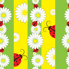 Spoed Fotobehang Lieveheersbeestjes Striped seamless pattern with ladybirds