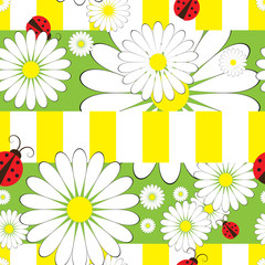 Autocollant pour porte Coccinelles Seamless pattern with ladybird and chamomile