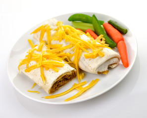 Mexican burrito with ground beef,