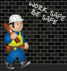 Cartoon builder with health and safety message