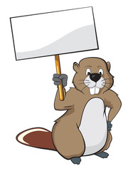 Beaver holding a nameplate