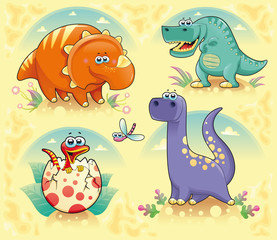 In de dag Dinosaurs Group of funny dinosaurs. Vector isolated characters