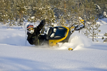 Snowmobile action in pristine lands