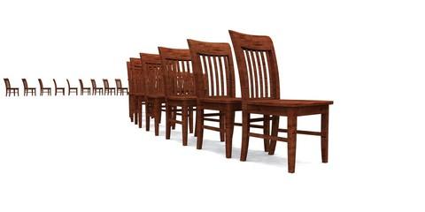 3D Stuhlreihe - Braun 04