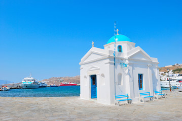 Blue church on the island of Mykonos Wall mural