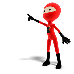 funny and cute cartoon hero with mask. 3D rendering with