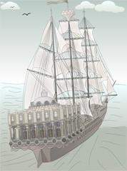 old ship sketch vector