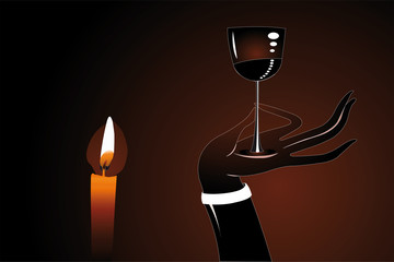 vector illustration of hand holdingg  glass of wine near with li