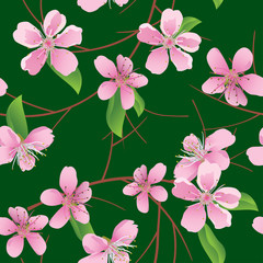 vector dark green seamless pattern with peach flowers
