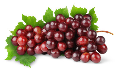 Isolated grapes. Bunch of red grape with leaf isolated on white background Fototapete