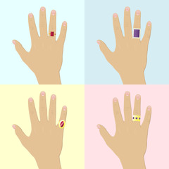 Four hands with rings