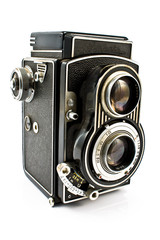Vintage two lens photo camera