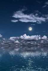 moon over a water surface