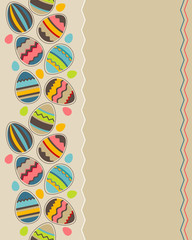 Greeting seamless vertical card wirh different easter eggs