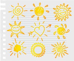 Hand-draw sun set