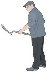 Man with a shovel/spade