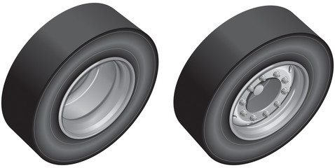 Lorry wheel, front and back 3D views