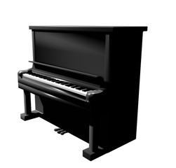 piano artistic style 3D isometric white background