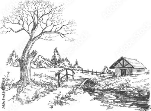 рисунки весна черно белые карандашом