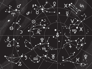 XII Constellations of Zodiac and Its Planets the Sovereigns. Astrological Celestial Chart.
