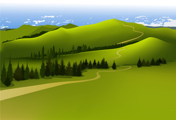 Fotobehang Pistache Mountain landscape