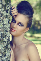beautiful woman with dramatic eye make-up